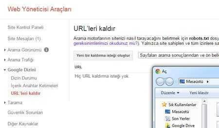 webmaster toplu url kaldırma